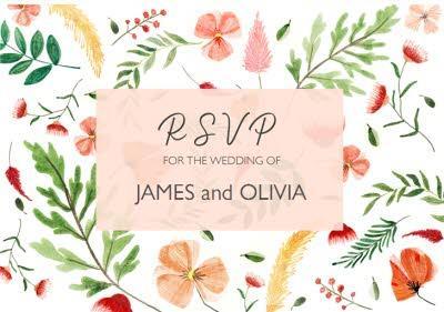 Floral Personalised RSVP Wedding Invitation