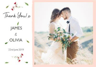Floral Personalised Thank You Wedding Card