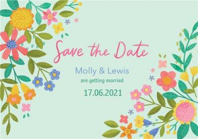 Illustrated Floral Design Wedding Save The Date Card