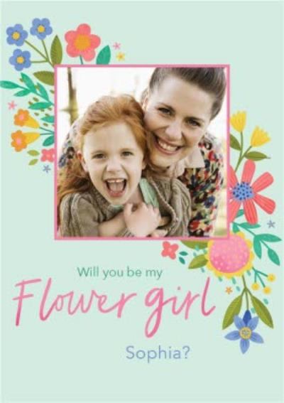 Illustrated Floral Design Wedding Will You Be My Flower Girl Photo Upload Card