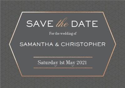 Geometric Pattern Graphic Typographic Wedding Save The Date Card