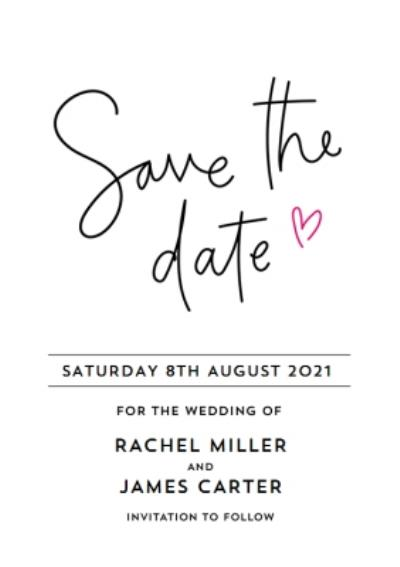 Typographic Wedding Save The Date Card