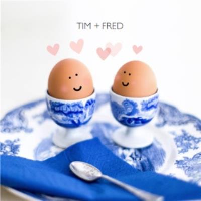 Smiling Egg Couple Personalised Names Card