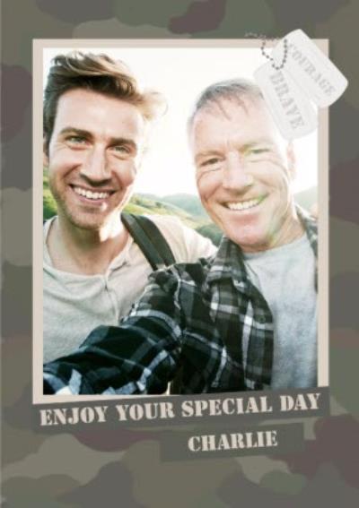 Special Day Congratulations Photo Card - Camo - Army