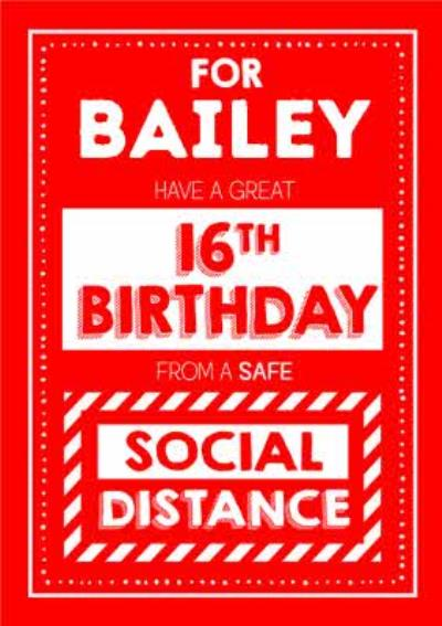 Jam and Toast Have A Great 16th Brirthday From A Safe Social Distance Card