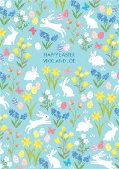 Easter day Card - Happy Easter - Easter eggs - Bunnies