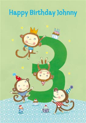 Cheeky Monkeys Happy 3Rd Birthday Card