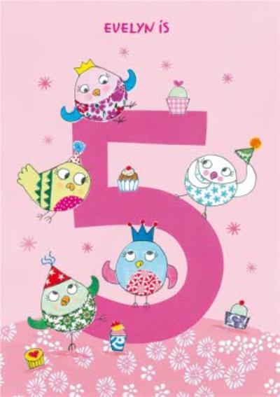 Owls 5th Birthday Card