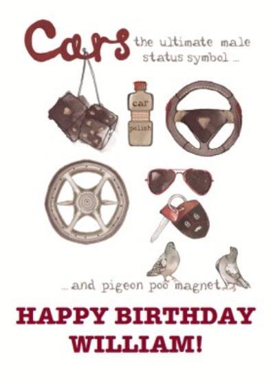 Car Parts Happy Birthday Card