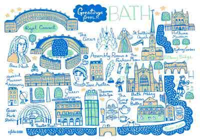 Illustrated Greetings From Bath Map Card