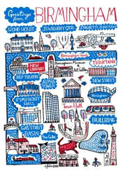 Illustrated Greetings From Birmingham Map Card