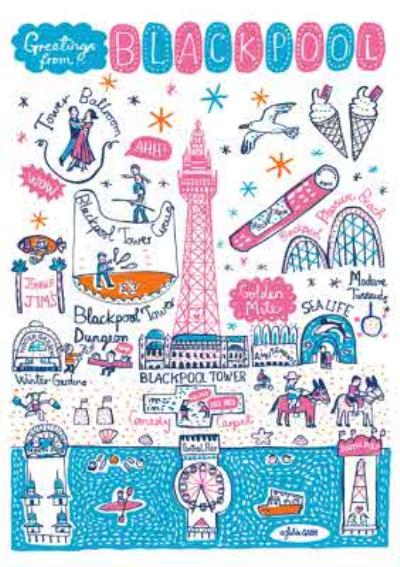 Illustrated Greetings From Blackpool Map Card