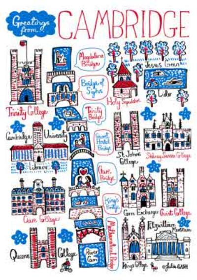 Illustrated Greetings From Cambridge Map Card