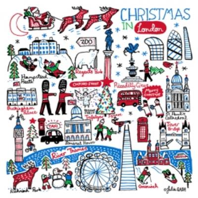 Illustrated Christmas In London Card
