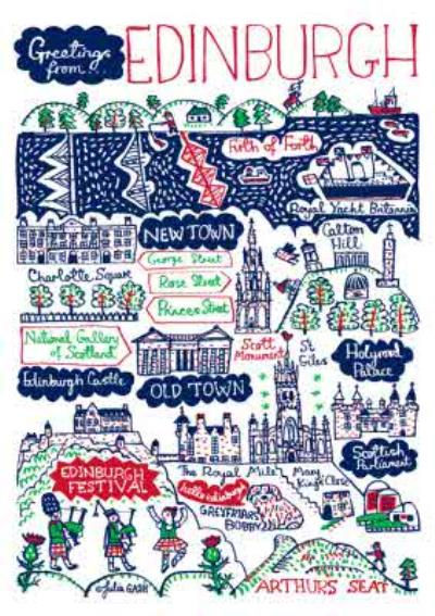 Illustrated Greetings From Edinburgh Map Card