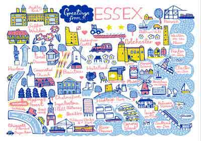 Illustrated Greetings From Essex Map Card