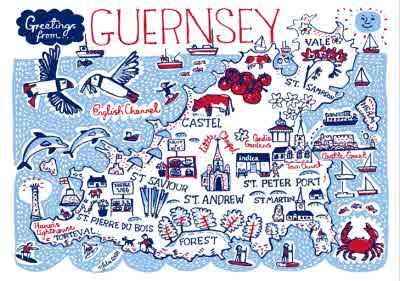 Illustrated Greetings From Guernsey Map Card