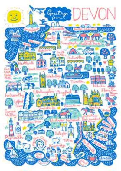 Illustrated Greetings From Devon Map Card