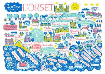 Illustrated Greetings From Dorset Map Card