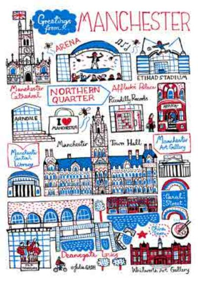 Illustrated Scenic Map Greetings From Manchester Card