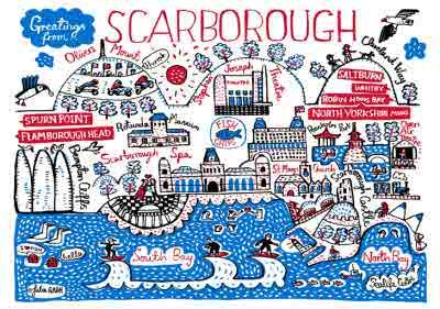 Illustrated Scenic Map Greetings From Scarborough Card