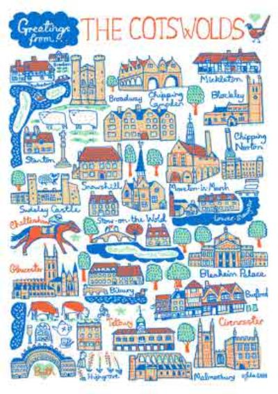 Illustrated Scenic Map Greetings From The Cotswolds Card