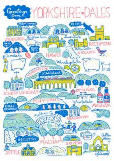 Illustrated Scenic Map Greetings From Yorkshire Dales Card