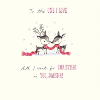 Reindeers In Love Personalised Christmas Card
