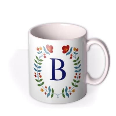 Birthday Mug - floral - monogrammed - initial