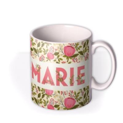 Personalised Floral Typographic Birthday Mug