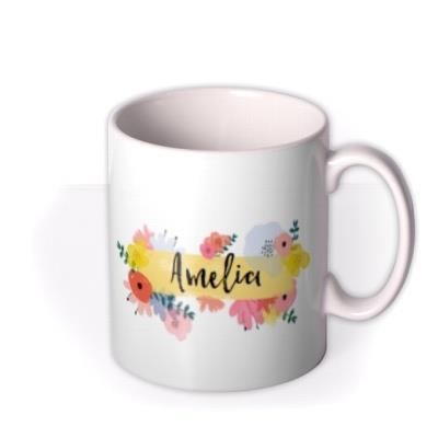 Floral Banner Typographic Birthday Mug