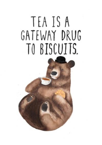 Jolly Awesome Bear With Tea And Biscuits Funny Birthday Card