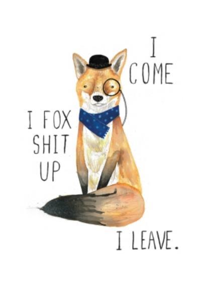 Jolly Awesome Funny Fox Birthday Card