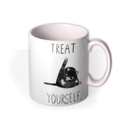 Jolly Awesome Treat Yourself Funny Cat mug