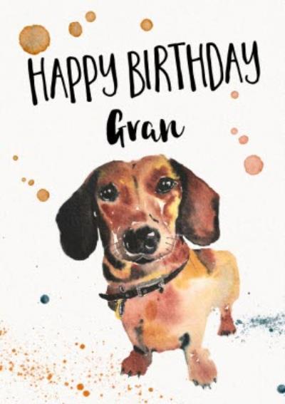 Dachshund Sausage Dog Watercolour Illustration Personalised Birthday Card