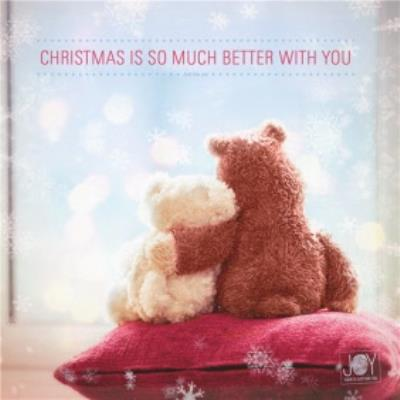 Better With You Bears Cuddling Personalised Christmas Card