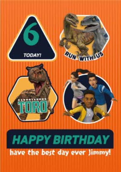 Jurassic Camp Cretaceous Dinosaur Run With Us Birthday Card