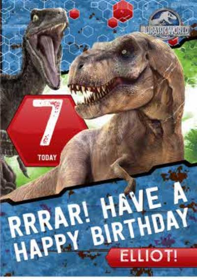 Jurassic World 7Th Birthday Card
