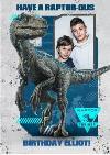 Birthday card - photo upload card - dinosaurs - jurassic world - raptor