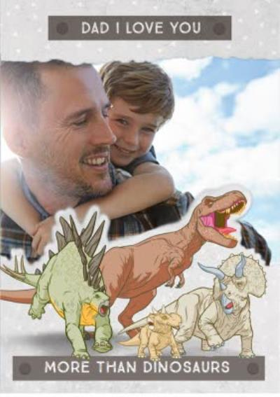 Father's Day card - Dad - Jurassic World - Dinosaurs - photo upload card