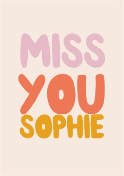 Miss You Personalised Name Postcard