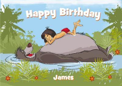 Disney Jungle Book Baloo And Mowgli On The River Personalised Birthday Card