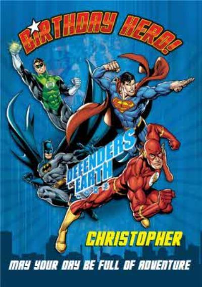 Justice League Superman Green Lantern Flash Personalised Happy Birthday Card