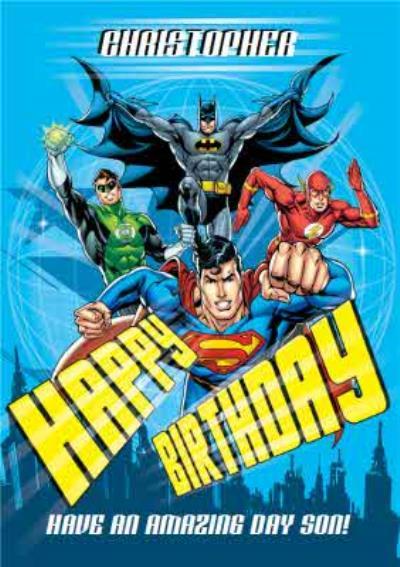 Justice League Batman Superman Personalised Happy Birthday Card