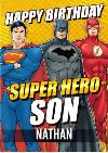 Justice League Super Hero Son Birthday card