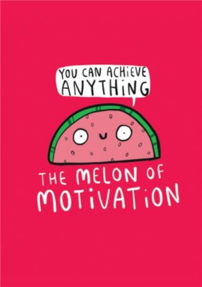 Illustrated Watermelon Self Care You Can Achieve Anything Motivation Thinking of You Card