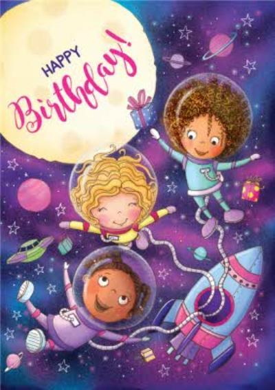 Happy and Fun Spaceship Birthday Card