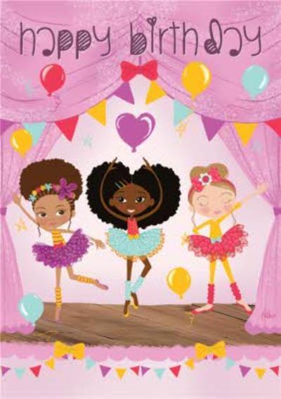 Girls Dancing On Stage Birthday Card