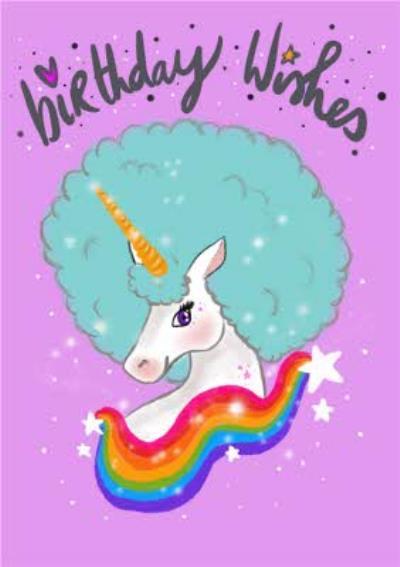 Cute White Unicorn with Blue Hair and  Rainbow Birthday Card