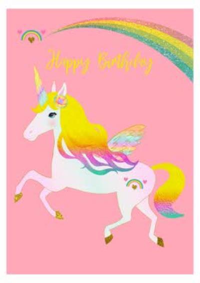 Multicoloured Unicorn Birthday Card